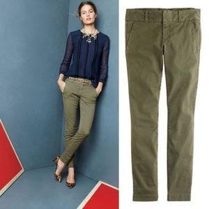 J. CREW Andie Chino Pants Fatigue Green {F52}